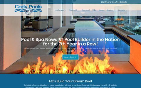 Screenshot of Home Page codypools.com - #1 Ranked Pool Builder in Austin, San Antonio, Houston   Cody Pools - captured Nov. 17, 2019