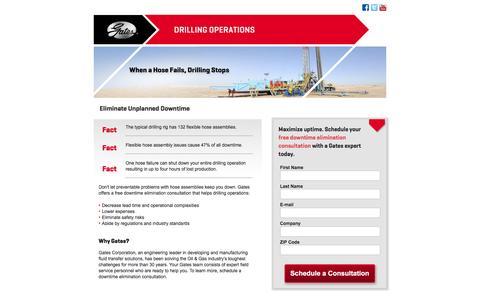 Screenshot of Landing Page gates.com - Drilling Operations - Avoid Equipment Failure   Gates Corporation - captured Oct. 20, 2016