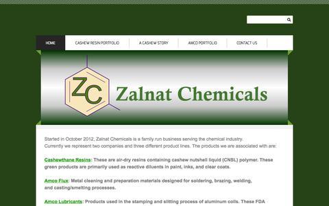 Screenshot of Home Page zalnat.com - Zalnat Chemicals - Home - captured Oct. 7, 2014