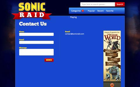 Screenshot of Contact Page sonicraid.com - Sonic Raid - Contact Us - captured Oct. 31, 2014