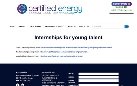 Screenshot of Jobs Page certifiedenergy.com.au - Talent Acquisition - captured May 17, 2018