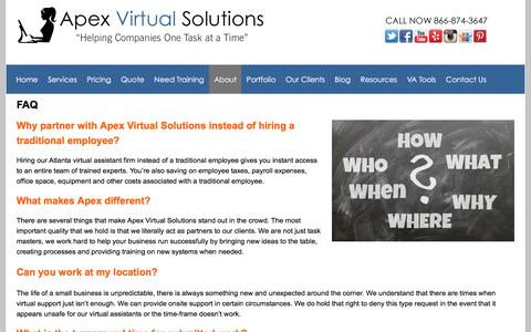 Screenshot of FAQ Page apexassisting.com - Why hire our Atlanta based virtual assistant instead of a traditional employee? | Virtual Assistant |Atlanta Website Design - captured Feb. 6, 2016