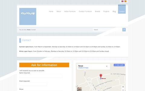 Screenshot of Contact Page nunue.com - Contact - captured Dec. 6, 2016