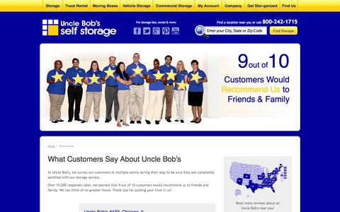 Screenshot of Testimonials Page unclebobs.com - What Customers are saying about Uncle Bob's Self Storage - captured Sept. 17, 2014