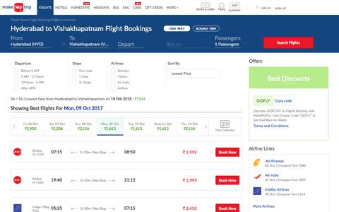 23 Flights Hyderabad to Vishakhapatnam Fares @Rs.1543+ 2000 OFF (upto)
