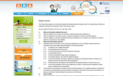 Screenshot of Privacy Page cra.com.kh - Privacy Policy - Cambodia Recruitment Agency (CRA) - captured Sept. 19, 2014
