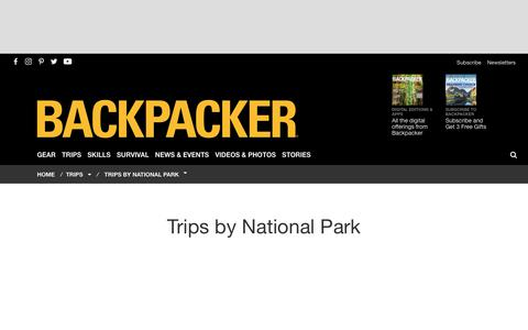Trips by National Park - Backpacker