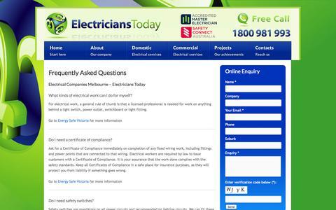 Screenshot of FAQ Page electricianstoday.com.au - Electrical Companies Melbourne - FAQ   Electricians Today - captured Sept. 29, 2014