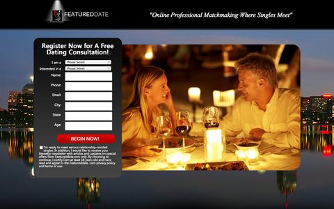 "Screenshot of Signup Page featureddate.com - Join Us - FeaturedDate® Matchmaking Agency ""Where Your Search Ends & The Connection Begins "" - captured Oct. 5, 2014"