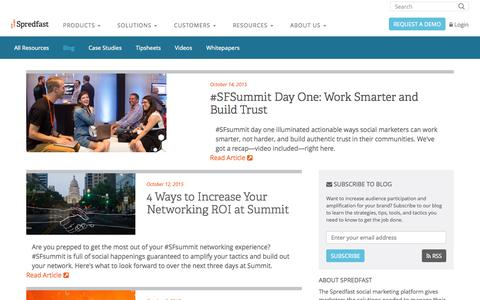 Screenshot of Blog spredfast.com - Social Marketing Blog   Social Media Marketing Strategy   Spredfast - captured Oct. 14, 2015