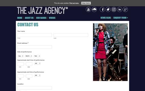 Screenshot of Contact Page thejazzagency.co.uk - Contact us The Jazz Agency - captured Sept. 21, 2018