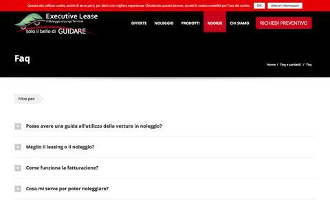 Screenshot of FAQ Page executivelease.it - Faq | Executive Lease - captured July 18, 2016