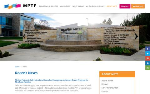 Screenshot of Press Page mptf.com - News - MPTF - captured July 26, 2018