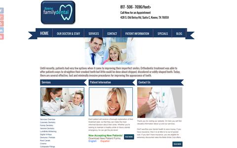 Screenshot of Services Page mykeenedental.com - Cosmetic Dentistry | Keene Family Dentistry | Keene TX 76059 - captured Nov. 3, 2014
