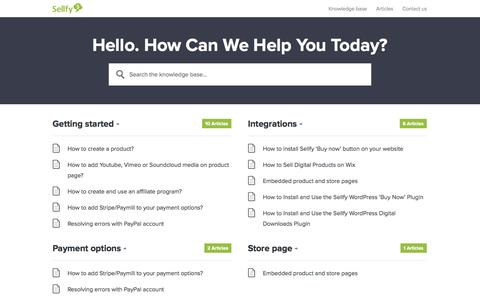 Screenshot of Support Page sellfy.com - Sellfy knowledge base - captured Sept. 17, 2014