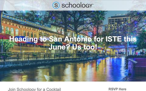 Screenshot of Landing Page schoology.com - RSVP for Schoology's Cocktail Networking Reception at ISTE 2017 - captured July 2, 2017