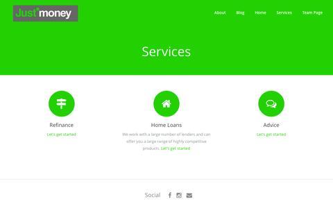 Screenshot of Services Page justmoney.com.au - Services - JustMoney - captured Aug. 8, 2016