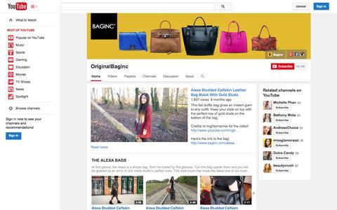 Screenshot of YouTube Page youtube.com - OriginalBaginc  - YouTube - captured Oct. 23, 2014