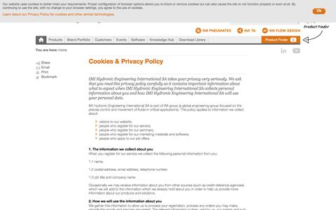 Screenshot of Privacy Page imi-hydronic.com - Cookies & Privacy Policy - captured Aug. 25, 2017