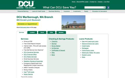 DCU Branch Location at 865 Donald Lynch Blvd., Marlborough, MA