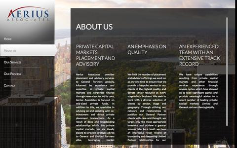 Screenshot of About Page aeriusassociates.com - Aerius Associates | Private Capital Markets Advisor | About Us | Aerius Associates - captured Oct. 29, 2014