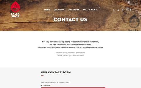 Screenshot of Contact Page salsashop.nl - SALSA SHOP | Fresh Mexican Kitchen |   Contact us - captured Sept. 30, 2014