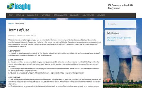 Screenshot of Terms Page ieaghg.org - - IEAGHG - Carbon Capture and Storage - captured Dec. 19, 2015