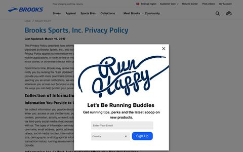 Screenshot of Privacy Page brooksrunning.com - Privacy Policy | Brooks Running - captured Nov. 9, 2017