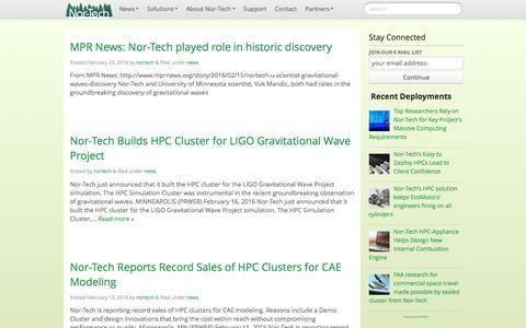 Screenshot of Press Page nor-tech.com - news   Nor-Tech - Innovative HPC Solutions - captured Feb. 26, 2016