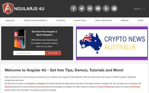 Screenshot of Home Page angularjs4u.com - AngularJS 4U Blog - Demos, News, Directives & Coding Tips - captured Sept. 23, 2018