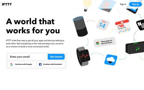 Screenshot of Home Page ifttt.com - IFTTT helps your apps and devices work together - IFTTT - captured Nov. 11, 2017