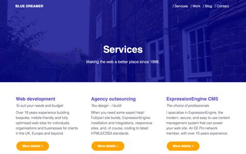 Screenshot of Services Page blue-dreamer.co.uk - Mobile friendly web design, ExpressionEngine & development - captured Oct. 19, 2018