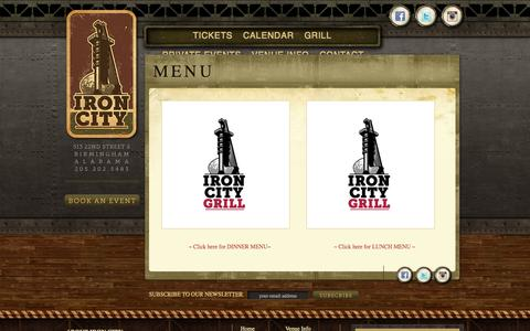 Screenshot of Menu Page ticketbiscuit.com - Menu | Iron City Birmingham - captured Sept. 17, 2014