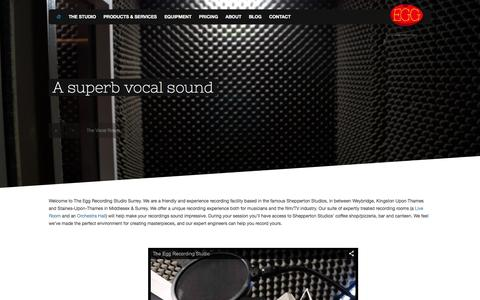 Screenshot of Home Page the-egg-recording-studio.com - The Egg Recording Studio, Shepperton, Surrey and Middlesex - captured Feb. 15, 2016