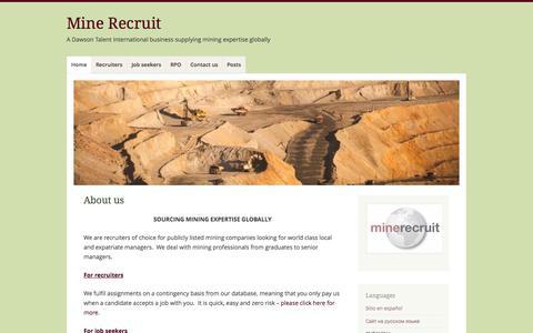 Screenshot of Home Page mine-recruit.com - Mine Recruit | A Dawson Talent International business supplying mining expertise globally - captured Oct. 6, 2014