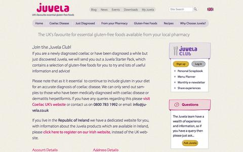 Screenshot of Signup Page juvela.co.uk - Join the Juvela Club! | Juvela Gluten-Free Foods - captured Sept. 30, 2014