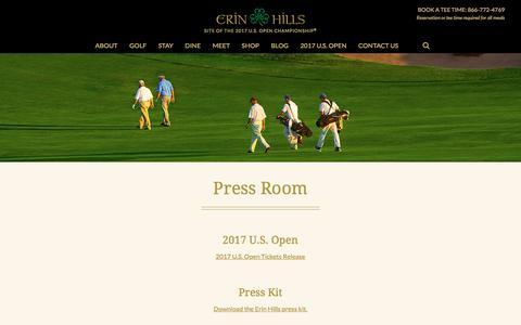 Screenshot of Press Page erinhills.com - Press Room - Erin Hills - captured Nov. 10, 2016