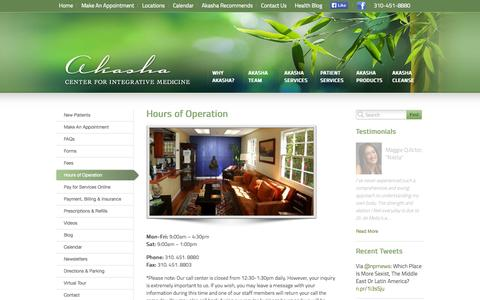 Screenshot of Hours Page akashacenter.com - Hours of Operation - The Akasha Center for Integrative Medicine The Akasha Center for Integrative Medicine - captured Oct. 4, 2014