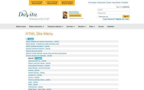 Screenshot of Site Map Page davita.com - SiteMap - DaVita - captured Feb. 26, 2016