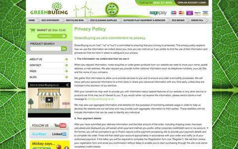 Screenshot of Privacy Page greenbuying.co.uk - GreenBuying.co.uk- Ethical business products agency - captured Oct. 3, 2014