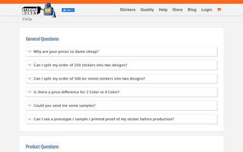 Screenshot of FAQ Page stickerobot.com - FAQs | Sticker Robot Custom Stickers - captured Jan. 3, 2020