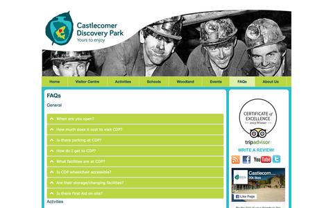 Screenshot of FAQ Page discoverypark.ie - FAQs | Castlecomer Discovery Park - captured Jan. 21, 2017