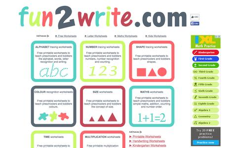 Screenshot of Home Page fun2write.com - fun2write.com - FREE educational worksheets - captured Sept. 19, 2014