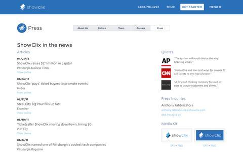 Screenshot of Press Page showclix.com - Press   ShowClix - captured Oct. 22, 2014