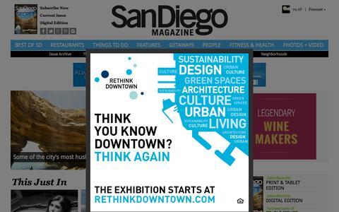 Screenshot of Home Page sandiegomagazine.com - San Diego Magazine - San Diego Restaurants, Events, Photos, The Best of San Diego - captured Sept. 20, 2015