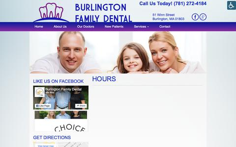 Screenshot of Hours Page burlingtonfamilydental.com - Hours - Burlington Family Dental | Burlington Family Dental - captured July 3, 2018