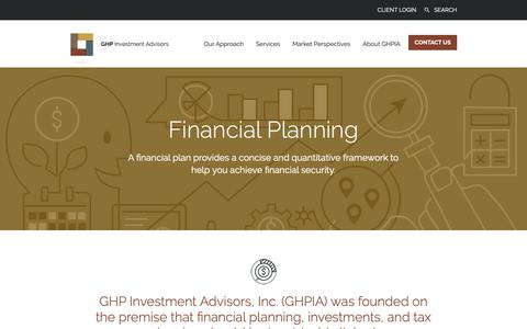 Screenshot of Services Page ghpia.com - GHPIAFinancial Planning - GHPIA - captured Sept. 26, 2018