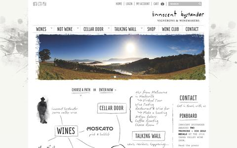 Screenshot of Home Page Press Page innocentbystander.com.au - Yarra Valley Wines, Restaurant & Cellar Door - Innocent Bystander - captured Sept. 30, 2014