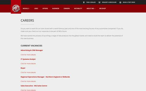 Screenshot of Jobs Page mg.co.uk - Careers   About MG   MG Motor UK - captured Oct. 1, 2018