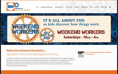 Screenshot of Home Page thebmi.org - Home — The Baltimore Museum of Industry - captured Feb. 7, 2016